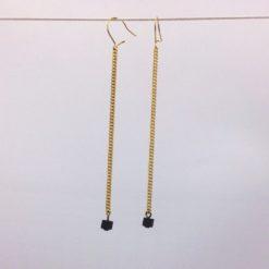 Boucles d'oreilles pendants petite planete brun chocolat cristal et gourmette or