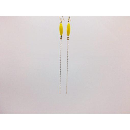 Boucles d'oreilles ultra longues bonbons pimenté jaune citron + fil blanc et or