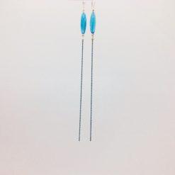 Boucles d'oreilles xxl bonbon pimenté bleu turquoise + fil bleu ciel