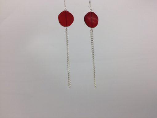 boucles d'oreilles longues galet harmonique rouge baiser et fil gourmette argent