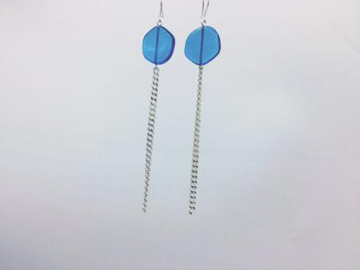 boucles d'oreilles longues galet harmonique bleu turquoise et fil gourmette argent