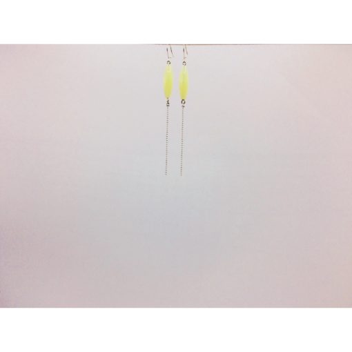 Longues boucles d'oreilles bonbon pimenté jaune lime + fil blanc