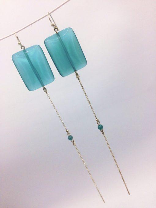 boucles d'oreilles extra longues équilibre carreaux de cristal bleu turquoise zoom