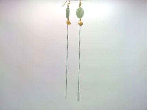 Bijou de cou Galet Précieux d'Amazonite Vert opaline sur son Fil d'Or laiton émaillé Vert opaline profil