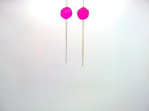 Boucles d'oreilles Galet Harmonique Cristal de Bohême Rose fushia + Fil Argent brillant