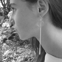 Boucles d'oreilles Galet Harmonique Cristal de Bohême Rose pastel + Fil Argent brillant porter 1
