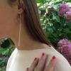 Boucles d'oreilles Galet Harmonique Cristal de Bohême Rose pastel + Fil Argent brillant porter 2