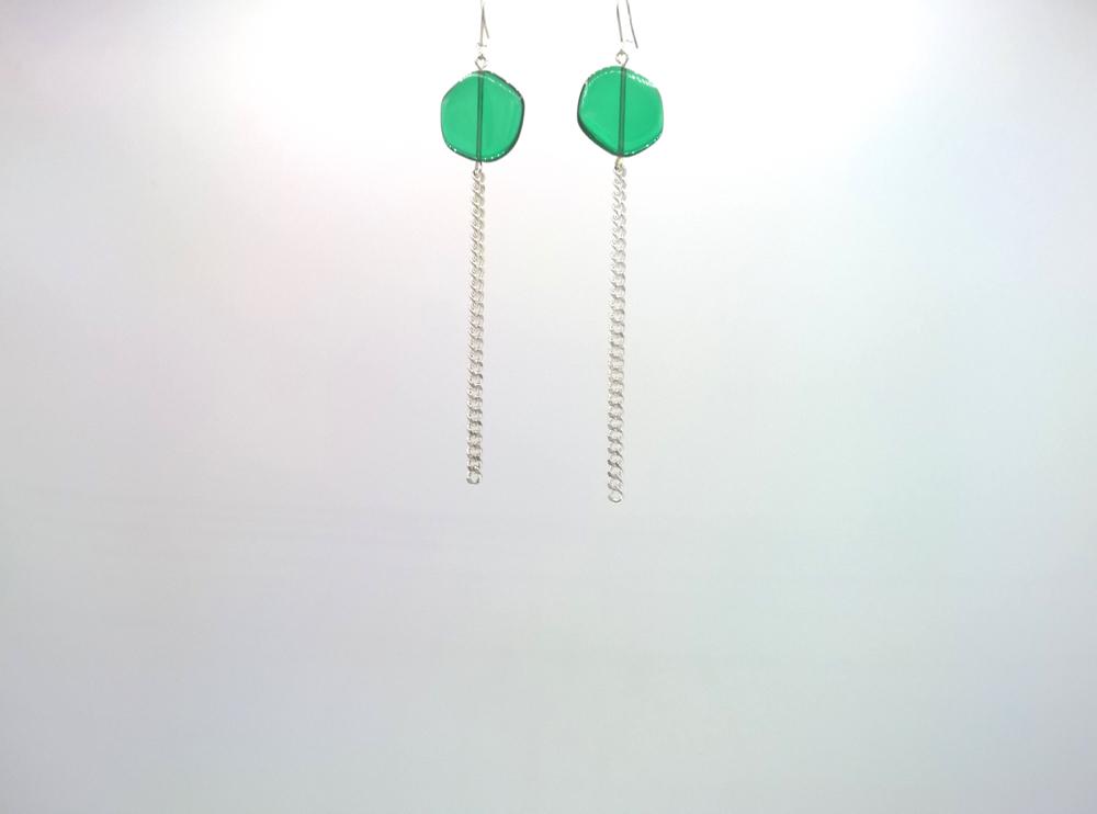 Boucles d'oreilles Galet Harmonique Cristal de Bohême Vert émeraude + Fil Argent brillant