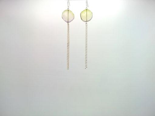 Boucles d'oreilles Galet Harmonique Cristal de Bohême Vert tilleul + Fil Argent brillant