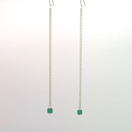 Pendants Filaire Petite Planète Cube de Cristal de Bohême Vert émeraude + Fil gourmette Argent brillant