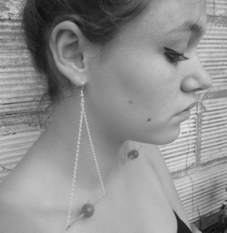 Pendant d'oreille Triangle d'Or Œil de chat bleu turquoise + Fil d'Argent diamanté
