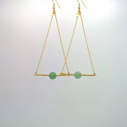 Pendant d'oreille Triangle d'Or Amazonite Vert opaline + Fil d'Or laiton diamanté