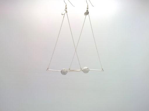 Pendant d'oreille Triangle d'Or Howlite Blanc marbré + Fil d'Argent diamanté