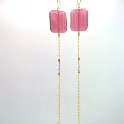 Longues boucles d'oreilles bijou de cou en Équilibre oeil de chat Rectangle Vieux rose et pâte de verre + Fil d'Or laiton diamanté