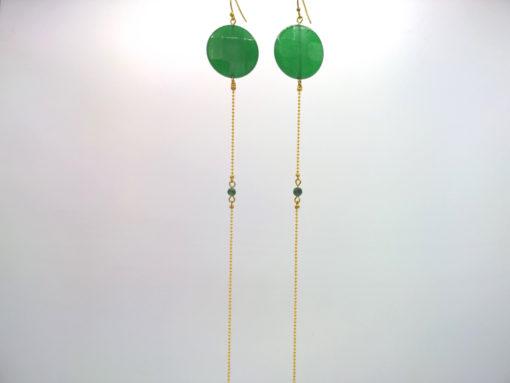 Longues boucles d'oreilles Équilibre + Agate facettée Vert émeraude + Fil d'Or laiton diamanté