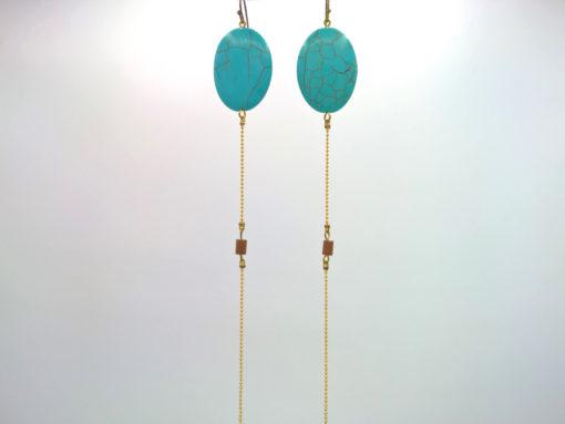 Longues boucles d'oreilles Équilibre + Turquoise ovale et cristal de Bohême caramel + Fil d'Or laiton diamanté