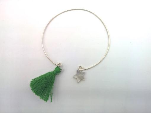 Bracelet Filaire D'un Pompon à une Étoile Pampilles étoile de nacre et pompon oversize vert émeraude + Fil métal argenté