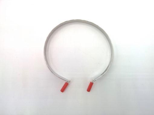 Bracelet Jonc en Argent 925 rhodié à Breloques de corail végétal rouge