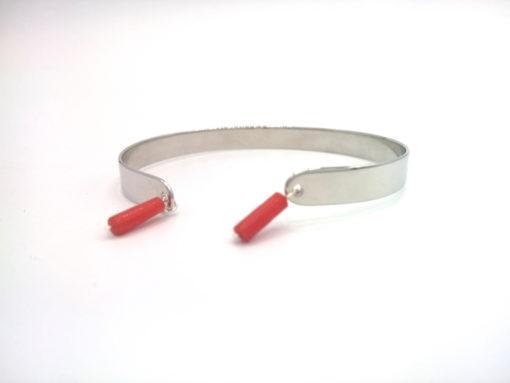 Bracelet Jonc en argent 925 à breloques de Corail végétal rouge + Jonc d'Argent 925 rhodié profil