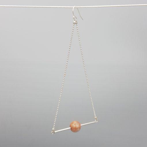 boucles d'oreilles longues triangle d'or agate rose