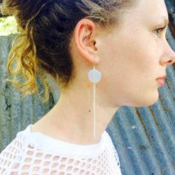 Galet harmonique Boucles d'oreilles opale blanche gourmette argent profil