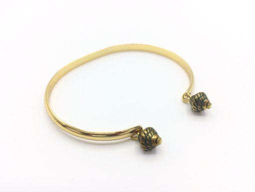 Bracelet demi jonc or à breloques romanes vert forêt