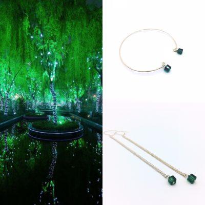 pendants d'oreilles petites planetes et bracelet planete chic cristal vert foret vert emeraude
