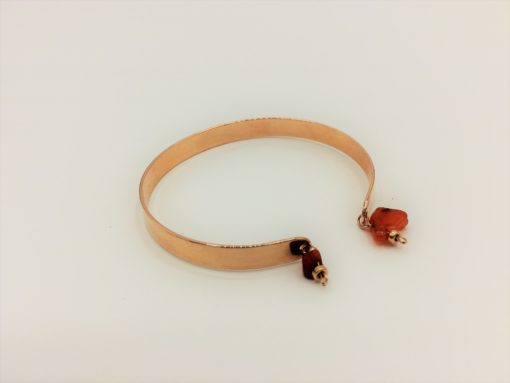 Bracelet Jonc doré à l'or fin à breloques Pépite brute de Cornaline + Jonc d'or rose