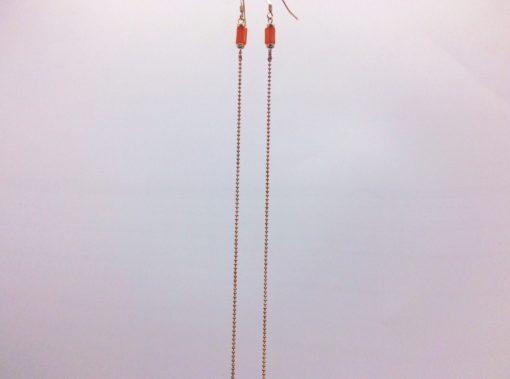 Cartouche boucles d'oreilles longues orange brulé or rose