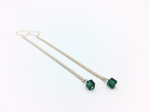 Pendants d'oreilles petites planètes vert foret vert emeraude cristal