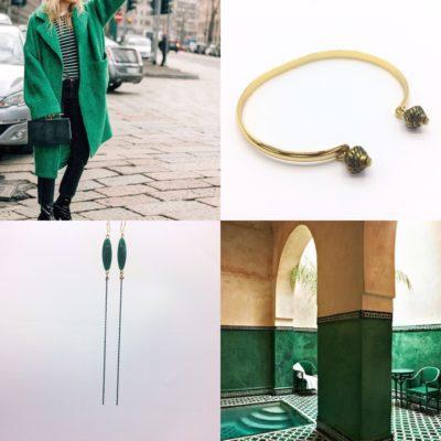 BO extra longues Bonbons pimentés vert foret vert emraude bracelet demi jonc or