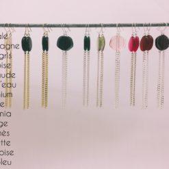 boucles d'oreilles longues galet harmonique colorama 11 couleurs