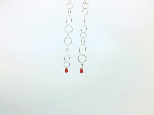 Tourbillon pendants d'oreilles Boucles d'oreilles longues cercles argent goutte rouge corail