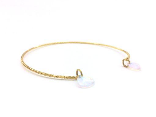 Bracelet Filaire torsadé doré à l'or fin Pétales de cristal blanc irisé + Fil doré à l'or jaune