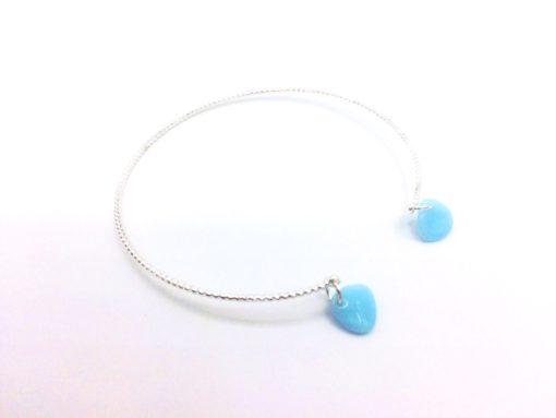 Bracelet Filaire torsadé argenté à l'argent fin Pétales de cristal bleu ciel