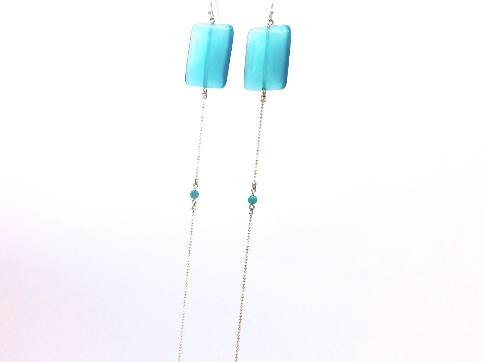 sélectionner pour le meilleur gamme exceptionnelle de styles meilleure sélection de longues boucles d'oreilles Équilibre bleu turquoise