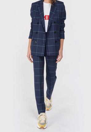 bleu marine carreaux tailleur pantalon maison père pour lulli