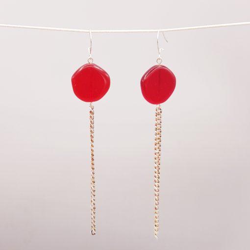 boucles d'oreilles longues galet harmonique rouge baiser