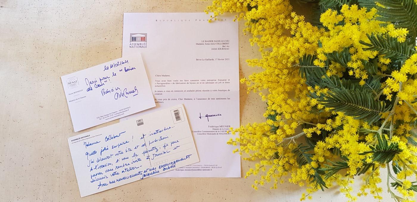 lettre de remerciements femme politique députée sénatrice