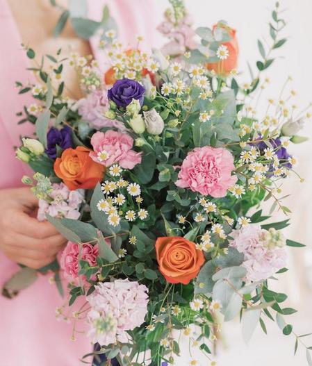 fête des mamans bouquet fleur orange violet bleu rose blanc